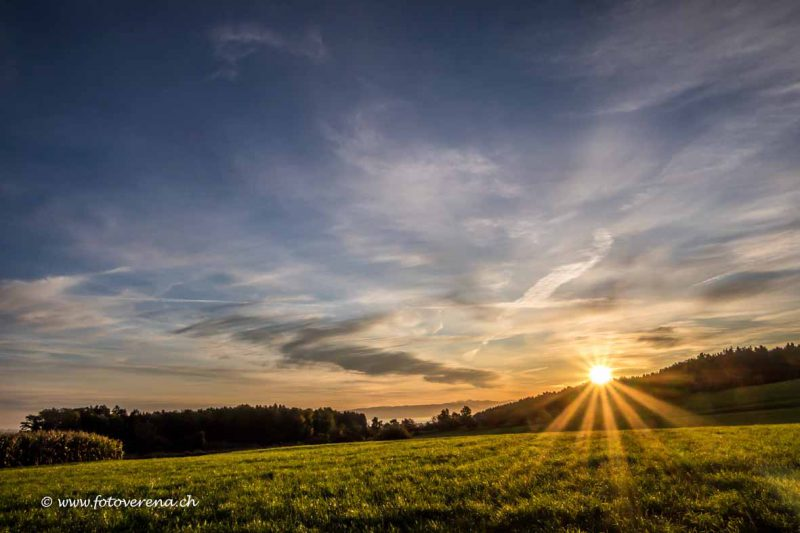 zauberhafte frühe Morgenlandschaft im Kanton Thurgau