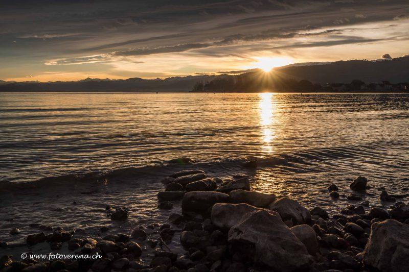 Sonnenaufgang am Bodensee an einem milden Wintertag