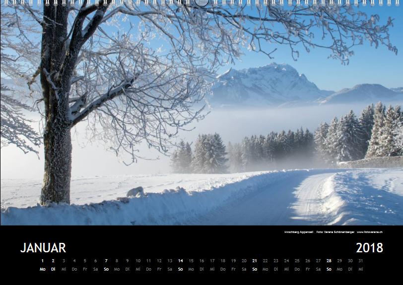Wandkalender 2018 A3 Musterblatt Januar